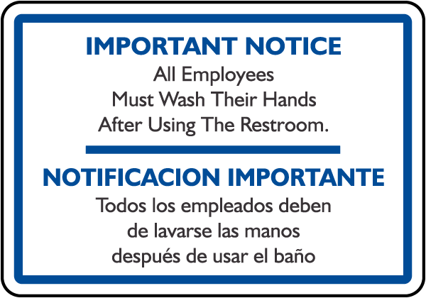 Bilingual Must Wash Hands Sign