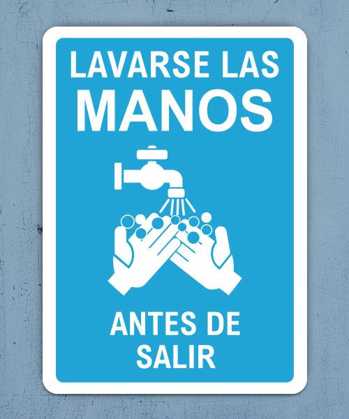 Spanish Lavarse Las Manos Antes De Salir Sign