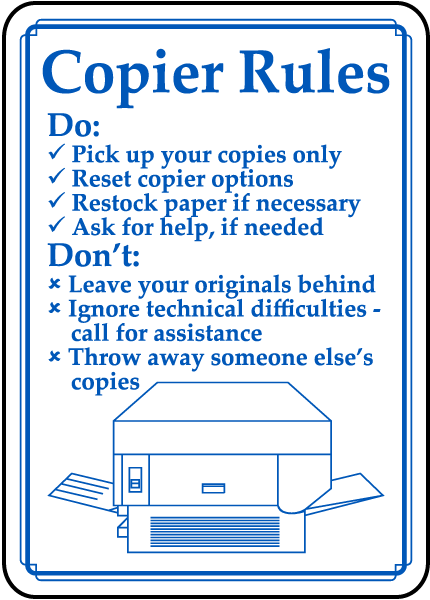 Copier Rules Sign