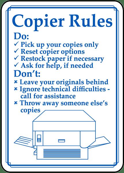 Copier Rules Sign