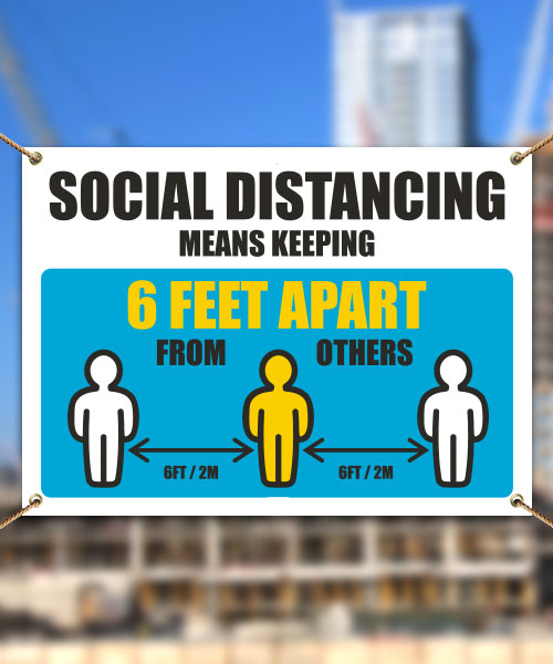 Social Distancing Means Keeping 6 Ft Apart Banner