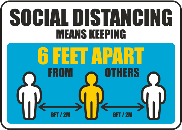 Social Distancing Means Keeping 6 Ft Apart Sign