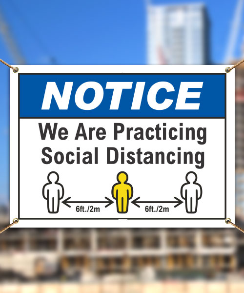 We Are Practicing Social Distancing Banner