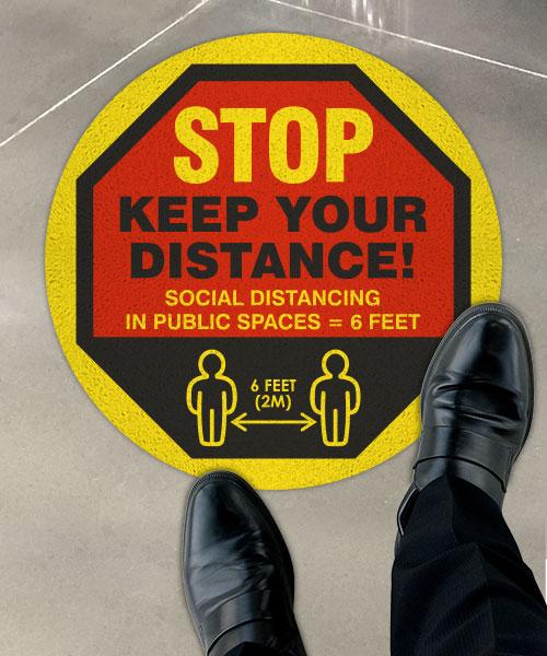 Stop Keep Your Distance Floor Sign