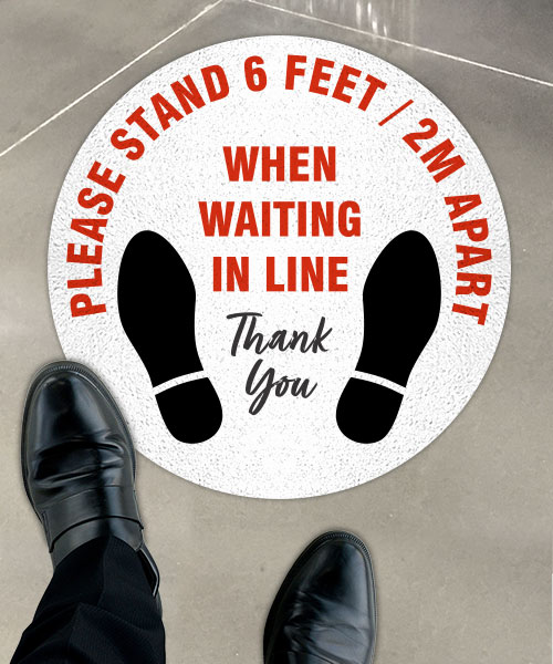Please Stand 6 Ft / 2m Apart Floor Sign