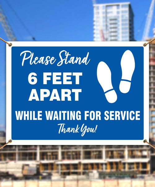 Please Stand 6 Ft Apart Banner