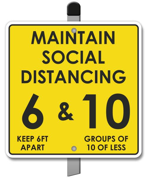 Maintain Social Distancing Yard Sign