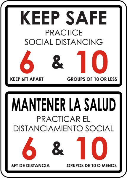 Bilingual Keep Safe Practice Social Distancing Sign