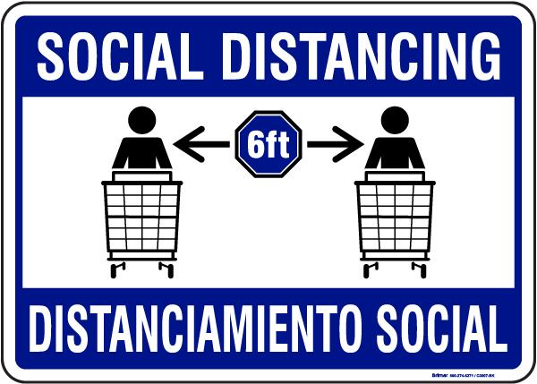 Bilingual Social Distancing Sign