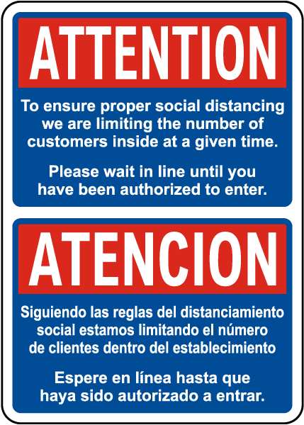 Bilingual Ensure Proper Social Distancing Sign