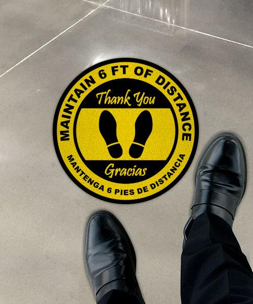 Bilingual Maintain 6 Feet Floor Sign