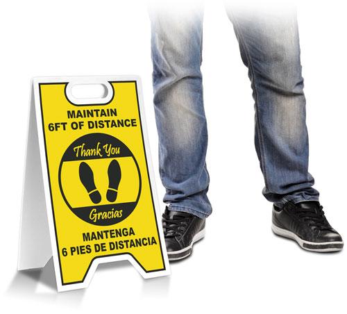 Bilingual Maintain 6 Feet Floor Stand