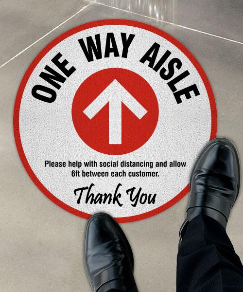 One Way Aisle Floor Sign