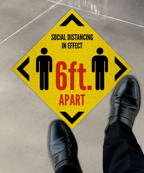 Social Distancing in Effect 6ft Floor Sign