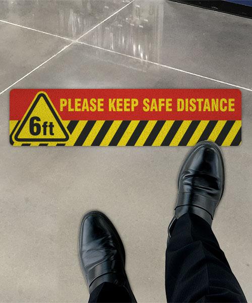 Please Keep Safe Distance Floor Sign