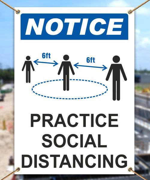 Notice Practice Social Distancing Banner