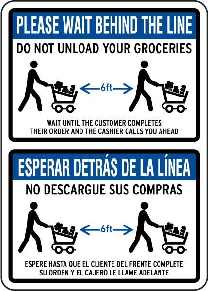 Bilingual Please Wait Behind the Line Sign