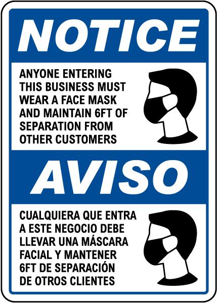 Bilingual Wear a Face Mask Sign