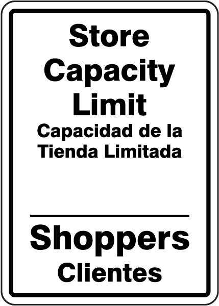 Bilingual Store Capacity Limit Sign