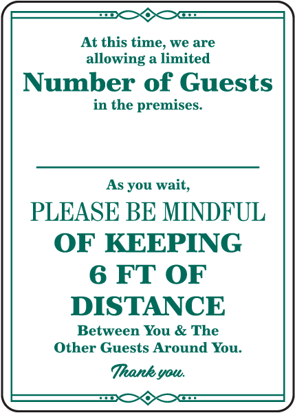 Number of Guests Sign