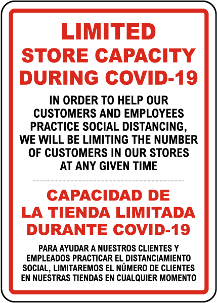 Bilingual Limited Store Capacity During COVID-19 Sign
