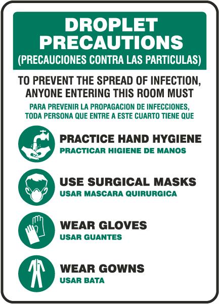 Bilingual Droplet Precautions Sign