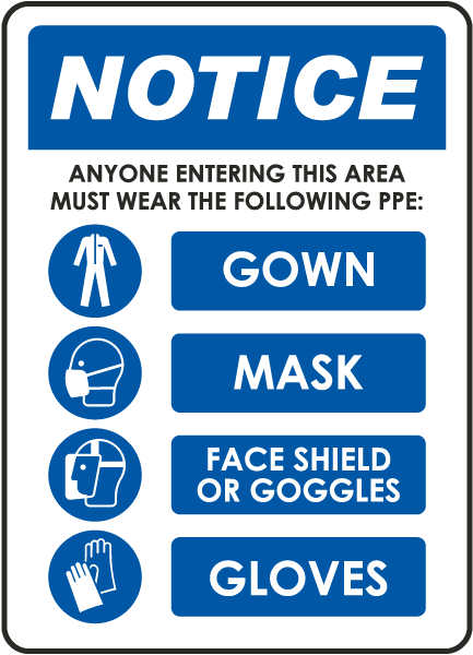 Notice Required PPE Sign