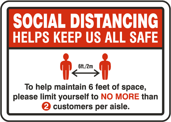 Social Distancing Store Aisle Sign