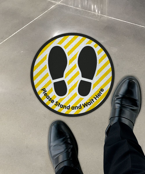 Please Stand and Wait Here Striped Floor Sign