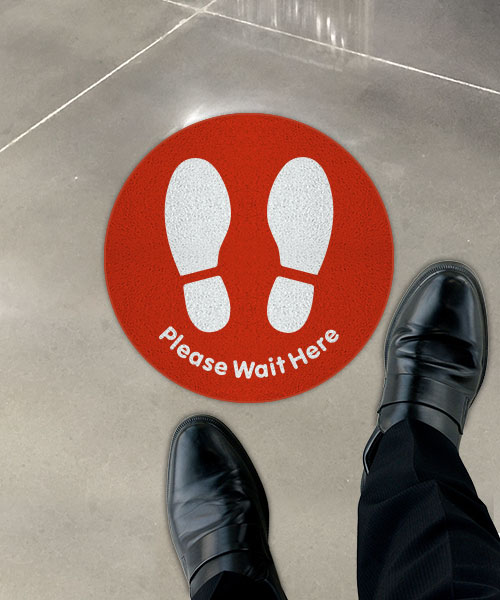 Red Please Wait Here Floor Sign