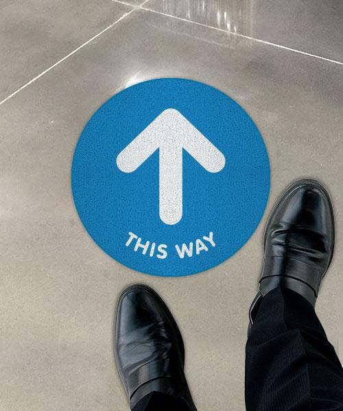 This Way Directional Up Arrow Floor Sign