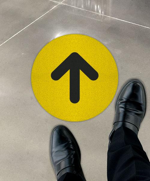 Yellow Directional Arrow Floor Sign