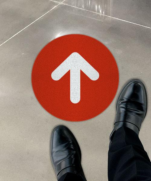Red Directional Arrow Floor Sign