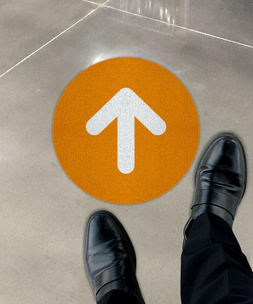 Orange Directional Arrow Floor Sign