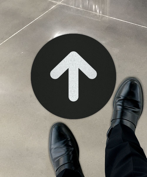 Black Directional Arrow Floor Sign