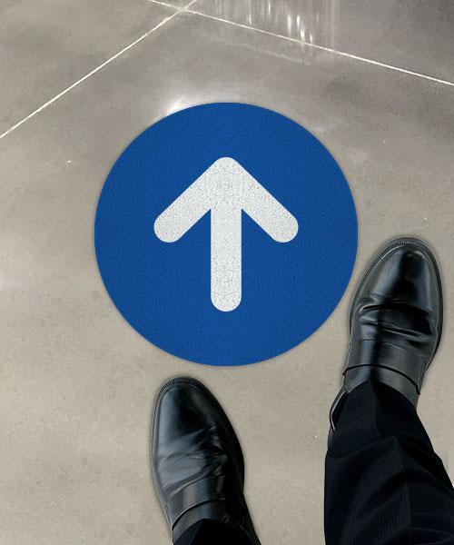 Blue Directional Arrow Floor Sign