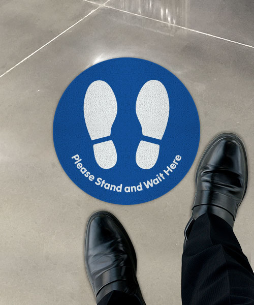 Please Stand and Wait Here Blue Floor Sign