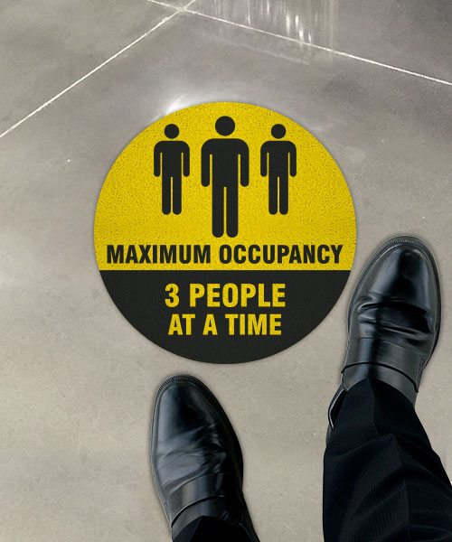 Three People Maximum Occupancy Floor Sign