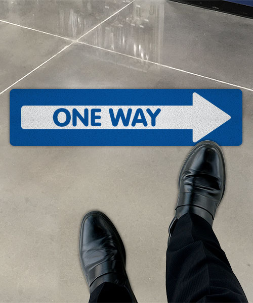 Blue One Way Right Directional Floor Sign
