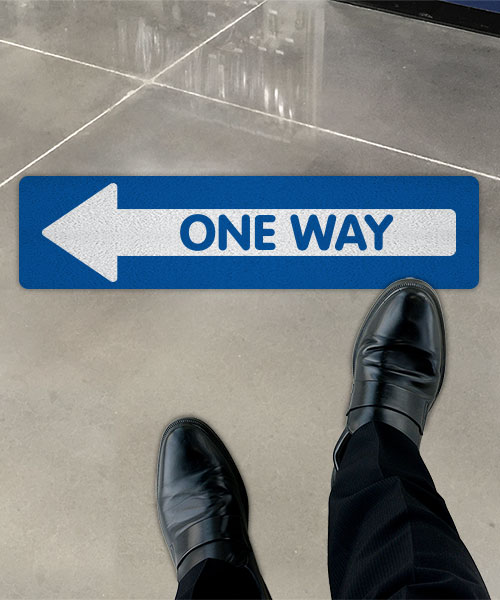 Blue One Way Left Directional Floor Sign