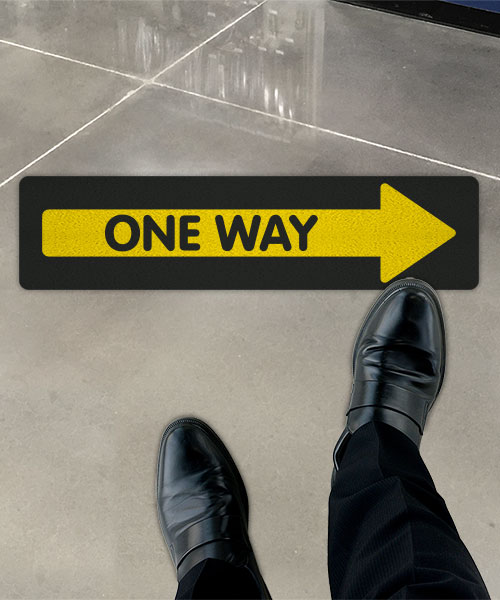 Yellow One Way Right Directional Floor Sign