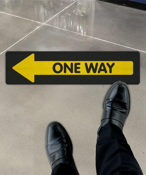 Yellow One Way Left Directional Floor Sign