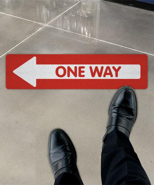Red One Way Left Directional Floor Sign