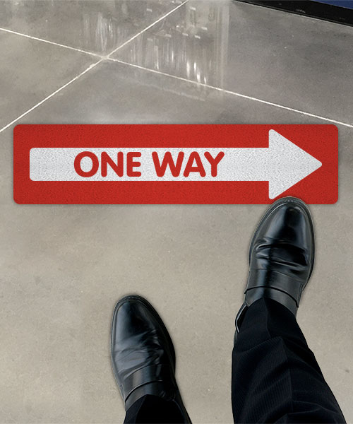 Red One Way Right Directional Floor Sign