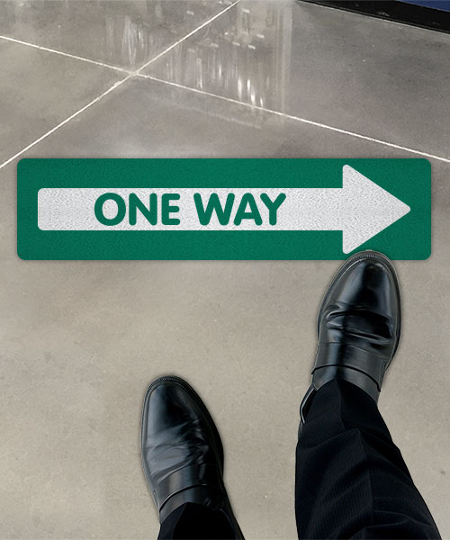 Green One Way Right Directional Floor Sign