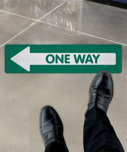 Green One Way Left Directional Floor Sign