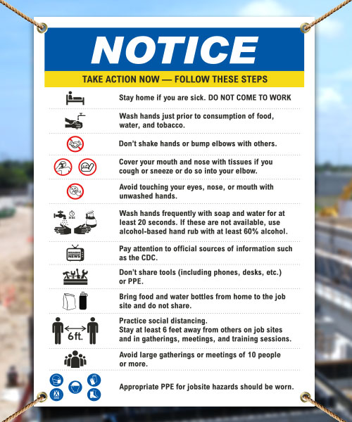 Notice Infection Prevention Construction Banner