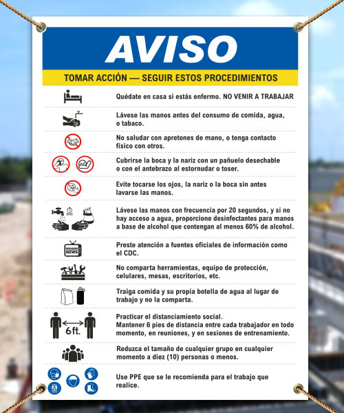 Spanish Notice Infection Control Construction Banner