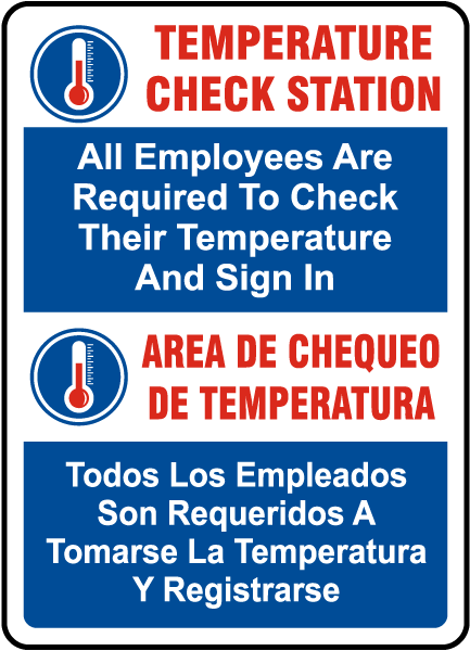 Bilingual Temperature Check Station Sign