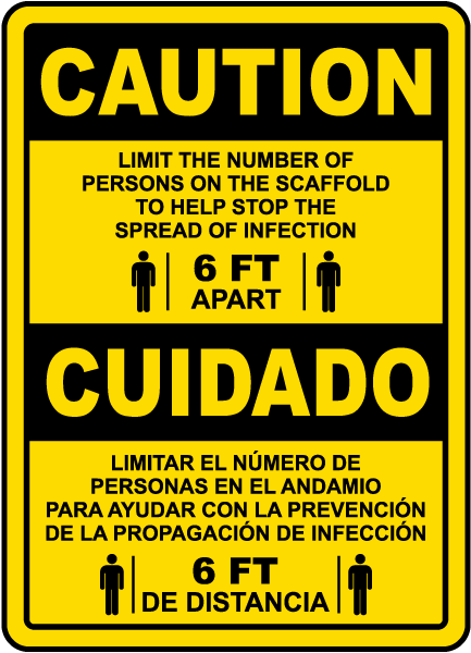 Bilingual Caution Scaffold Physical Distancing Sign